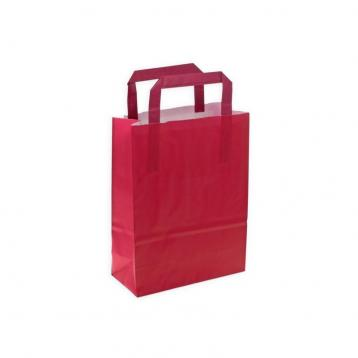 Shoppers carta bicolore bordo' / prugna f.to 27 + 12 x 37