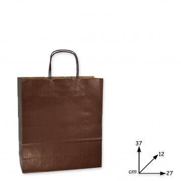 Shoppers carta manico r. f.to .27 + 12 x 37 col.  marrone