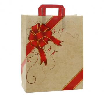 Shoppers carta  h41 x l32 x p13 cm fantasia ribbon rosso