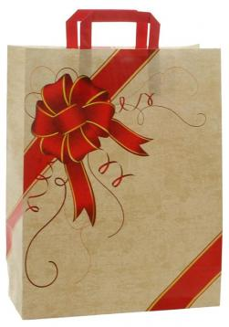 Shoppers carta h49 x l45 x p15 cm fantasia  ribbon rosso