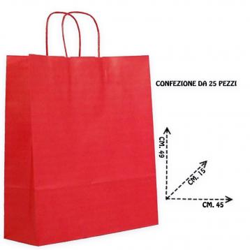 Shoppers carta f.to 45 + 15 x 49 colore rosso