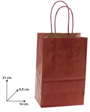 Shoppers carta f.to ,14 + 8,5 x 21 col. bordo' manico ritorto