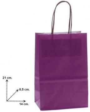 Shoppers f.to 14 + 8,5 x 21 viola manico ritorto