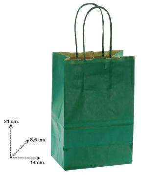 Shoppers carta  f.to 14 + 8,5 x 21,5 col verde scuro m. ritorto