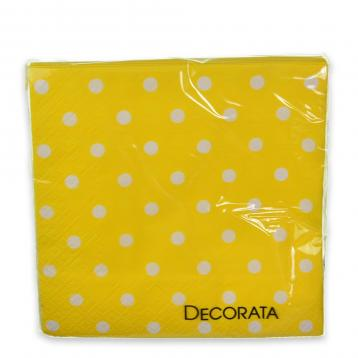 Tovagliolo 3 veli yellow dots f.to  33  x  33