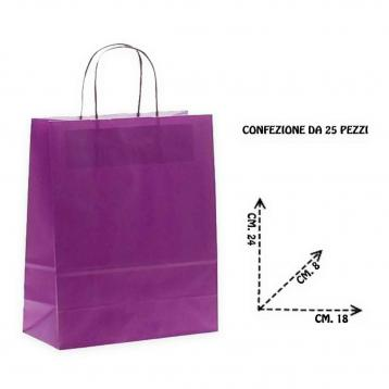 Shoppers carta col. viola f.to. 18 + 8 x 24 cm.