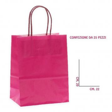 Shoppers carta f.to 22 + 10 x 29 colore fuxia