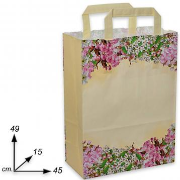 Shopper carta h49 x l45 x p15 cm fantasia fiori di pesco