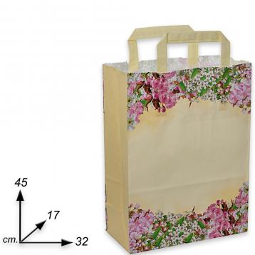 Shopper carta fantasia fiori di pesco h45 x l32 x p17