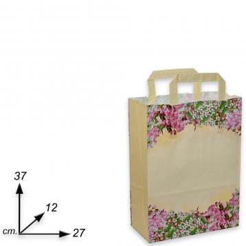 Shopper carta  h37 x l27 x p12 cm fantasia fiori di pesco