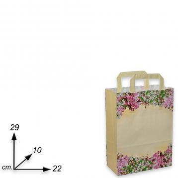 Shopper carta h29 x l22 x p10 cm fantasia fiori di pesco