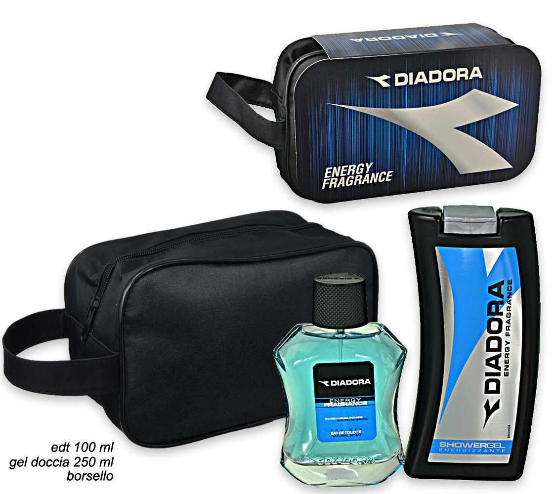 Diadora blue coffret edt 100 ml + shower gel 250 ml + pochette ... a812525536d