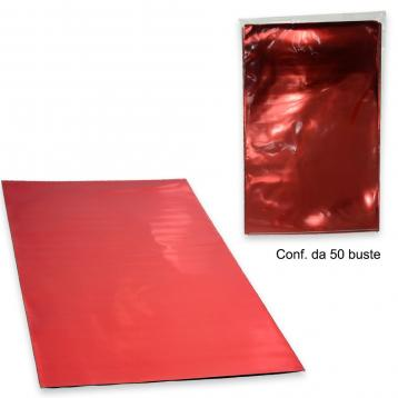 50 buste regalo polipr. metal. f.to .20 x 35 colore rosso
