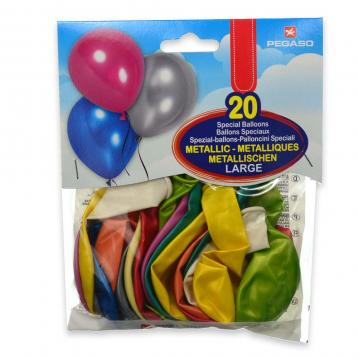20 palloncini metal.assortiti mis.l