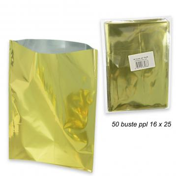 50 buste regalo metallizzato in ppl  f.to  16 x 25 col.oro