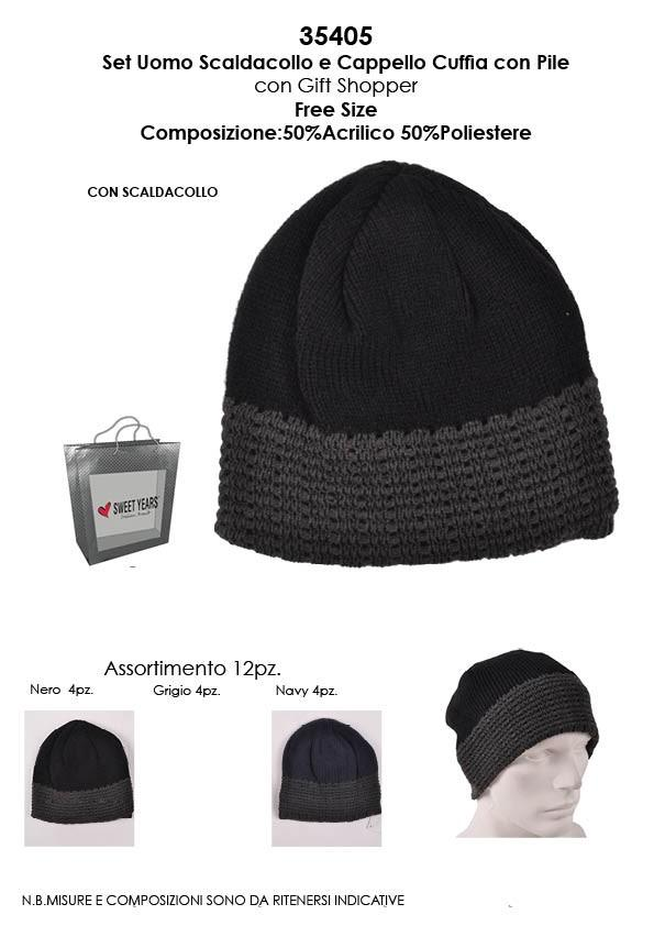 Sweet years Set uomo sciarpa e cappello cuffia interno pile 50%pc 50 ... 57cedeedb43d