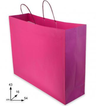 Shoppers carta m.ritorta f.to  54 + 16 x 43  fuxia j-fold  bicolore