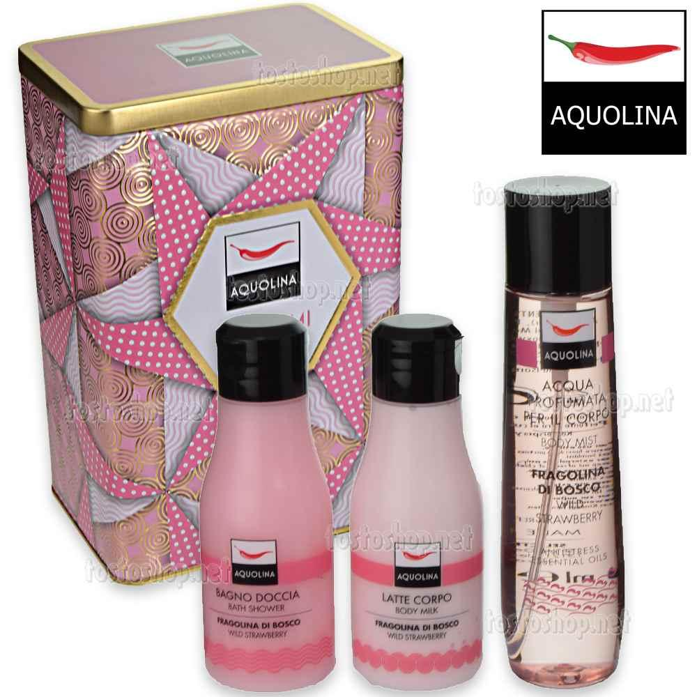 Aquolina vertical box fragolina di bosco profumo corpo 150 ml + b/doccia 125 ml + latte corpo 125 ml