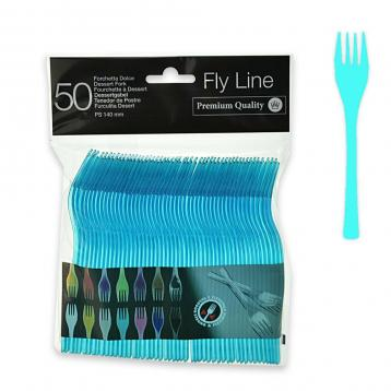 50 forchette dolce da 140 mm.  fly line col.turchese
