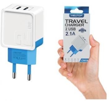 Newtop cm19 small blister wall charger 2a 2usb