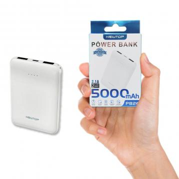 Newtop pb26 small blister powerbank 5000mah 2 usb